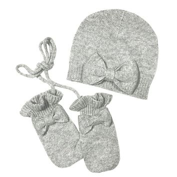 Bow Hat with mittens Cashmere in Heather Grey