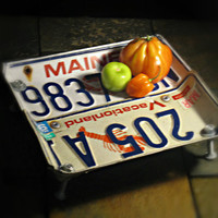 """Vintage Upcycled Maine License Plate Bowl """"Lobster Vacationland"""""""