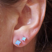 Square Light Blue Fire Opal Post Earrings