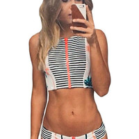 Palm Tree Printed Stripe Tankini