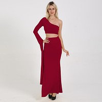 fhotwinter19 Sexy Navel Bare One Shoulder Fishtail Split Long Skirt Two Piece Set