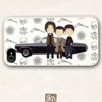 Iphone 4/4s case cute TEAM FREE WILL , Supernatural, Sam and Dean Winchester , Castiel , Impala