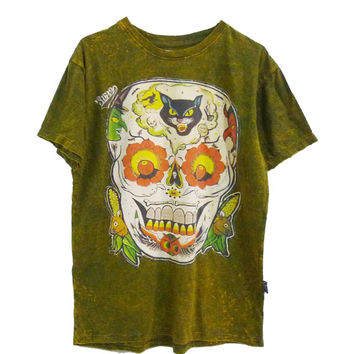 Skull tshirt Olive green cotton tee for women men teen clothes **crew neck t shirt size L, XL one size **short sleeve tshirt