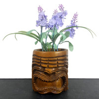 Tiki Mug Carved Wood Mask Cup Planter Pencil Pen Holder Vintage Hawaiian Souvenir Polynesian Retro Tropical Kitsch Luau Decor Philippines