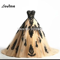 2017 Champagne Prom Dresses With Black Appliques Prom Dress robe de soiree For Wedding vestido de festa Custom Made Cheap