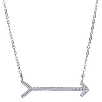 """Sterling Silver With CZ Straight Sideways Arrow Necklace, 18"""""""