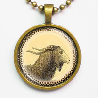 Vintage Animal Illustration Necklace - Capra Villosa - Altered Illustration Art