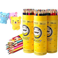 Simlcase Pencil Drawings 36 Colored Pencils for Adult Coloring Books color pen+ Bear Pencil sharpener
