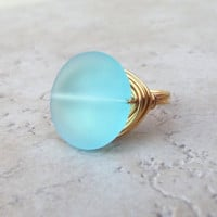 Blue Sea Glass Ring:  24K Gold Wire Wrapped Turquoise Ocean Blue Beach Jewelry, Size 7