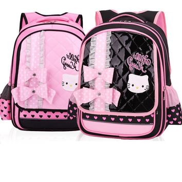 Hot Lovely Cartoon children Shoulder Bag Hello Kitty Girl schoolbag Suitable for age:6-12 years kids bag 2PCS/SET Hand Pouch bag
