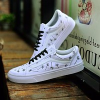 For Those Who Sin x Vans Old Skool Sneakers Training Shoes White Palm Tree