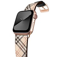 GZ GZHISY Leather Bands Compatible with Apple Watch Bands 38mm 40mm,Genuine Leather Vintage Replacement Men Women Strap Classic Bands Buckle Compatible with iWatch Series SE/6/5/4/3/2/1,White Lattice