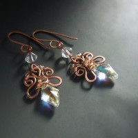 Crystal earrings, Swarovski crystal jewelry, fairy copper jewelry, wedding earrings