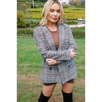 A Simple Favor Plaid Blazer, Black