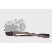 Walnut Baby Alpaca Wool and Brown Leather Camera Wrist Strap (cord attachment)