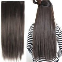 "World Pride Fashionable 23"" Straight Full Head Clip in Hair Extensions - Dark Brown"