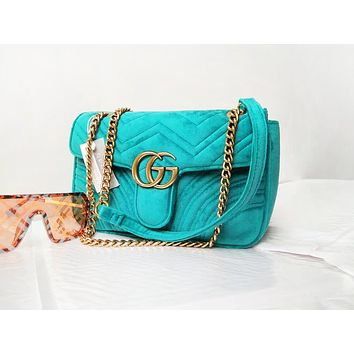 GUCCI fashion hot seller lady velvet solid double G chain diagonal bag