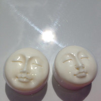 "1"" Man in the moon face You pick plug size 5/8"" or 1"" Hand carved bone face only one set left 2 pair of the smaller size left 1/2"" or 9/16"""