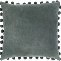Serengeti Cotton Velvet Pom Pom Throw Pillow