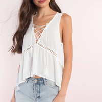 Marissa Plunging Lace Up Tank