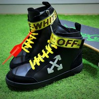 OFF WHITE Low 3.0 Hi Top Sneakers Men Black Yellow Shoes - Best Online Sale
