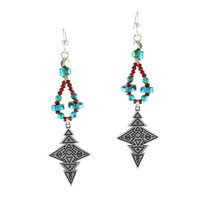 Turquoise and Red Aztec Print Dangle Earrings