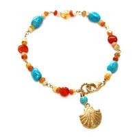 Sleeping Beauty Turquoise Bracelet Mexican Fire Opal Bracelet Shell Bracelet Turquoise Jewlery Opal Jewelry Resort Fashion Spring Trends