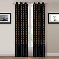 Lavish Home Katrina 2 Panel Grommet Curtains - Black-Gold
