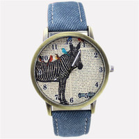 Womens Girls Denim Strap Wrist Watch Unisex Zebra Casual Sports Watches Best Christmas Gift