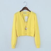 Spring Autumn Korean Women Short Crop Cropped Top Slim Knitted Cardigan Sweater Womens Sweaters And Cardigans Femme Tricot