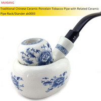 Hot Original Durable Manual Blue and White Porcelain Ceramic Pipe Set Bent Stem Clay Cigarettes Pipe with Pipe Rack Stand ak0003