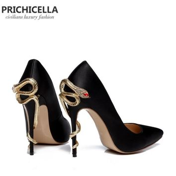 Satin Gold Mental Snake Unique Genuine Leather Pointed Toe High Heeled pumps