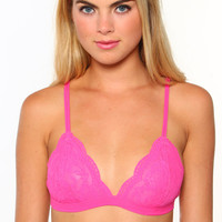 Lace Triangle Bralette - Hot Pink