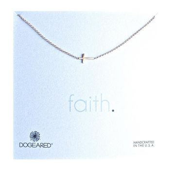 Dogeared - Whispers Sideways Cross Necklace in Gold Dipped