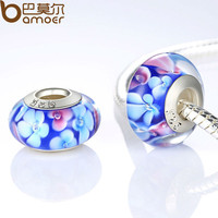 2016 New Spring Collection Silver Plated Blue Murano Glass Flower Beads Fit Brac