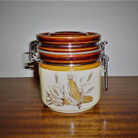 Vintage 1970s Ceramic Canister with Metal Lock-Clasp Lid Featuring Pictures of Corn on the Cob / Sugar Coffee Flour Canister / Retro Jar