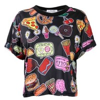 ZLYC Women Girls Lovely Cute Snacks Food Novelty Print Crop Top Black, One Size