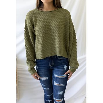 Fill Me In Sweater - Olive