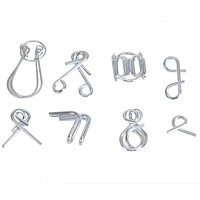 7pcs Set Metal Wire Puzzle Toys Montessori Educational Toy Classic IQ Mind Brain Test Teaser Toy for Kid Adult Training