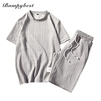 Summer sets Men Sportswear Tracksuit New Clothing Breathable Short Sleeve Shorts 2 Pieces Sportswear Clothes