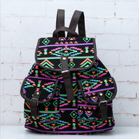 Lightweight Ethnic Daypack Tribal Aztec Canvas Unique Backpack Travel fashion bag