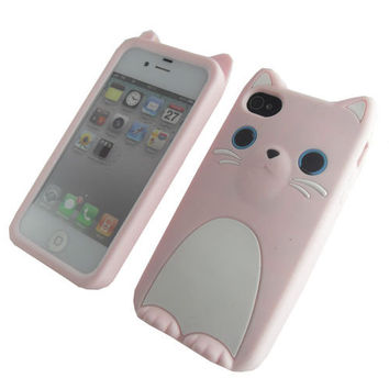 3D COCO Cat With Ear Cute Soft Silicone Skin Back Cover Case For iPhone 4G 4S