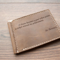 Christmas Sale -15% PERSONALIZED WALLET, Men's Leather Money Clip, Wallet Gifts, Bifold Wallet Distressed Minimalist light, red brown, dark