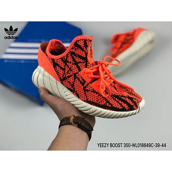 Adidas Yeezy Boost 350 Fashion Women Men Casual Breathable Net Surface Running Sport Shoes Sneakers Orange I-CSXY