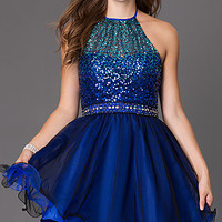 Short Halter Dress with Sequin Bodice