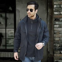 Military Tactical Cardigan Slim Elastic Hooded Coats Windbreaker