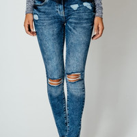 LUXURY DARK ACID WASHED JEANS DISTRESSED