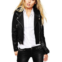 Black Faux Leather Jacket with Faux Fur Collar