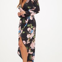 Floral Wrap Ankle Grazer Maxi Dress