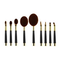 Angel Cosmetic 9 Pcs Golf Makeup Oval Brushes